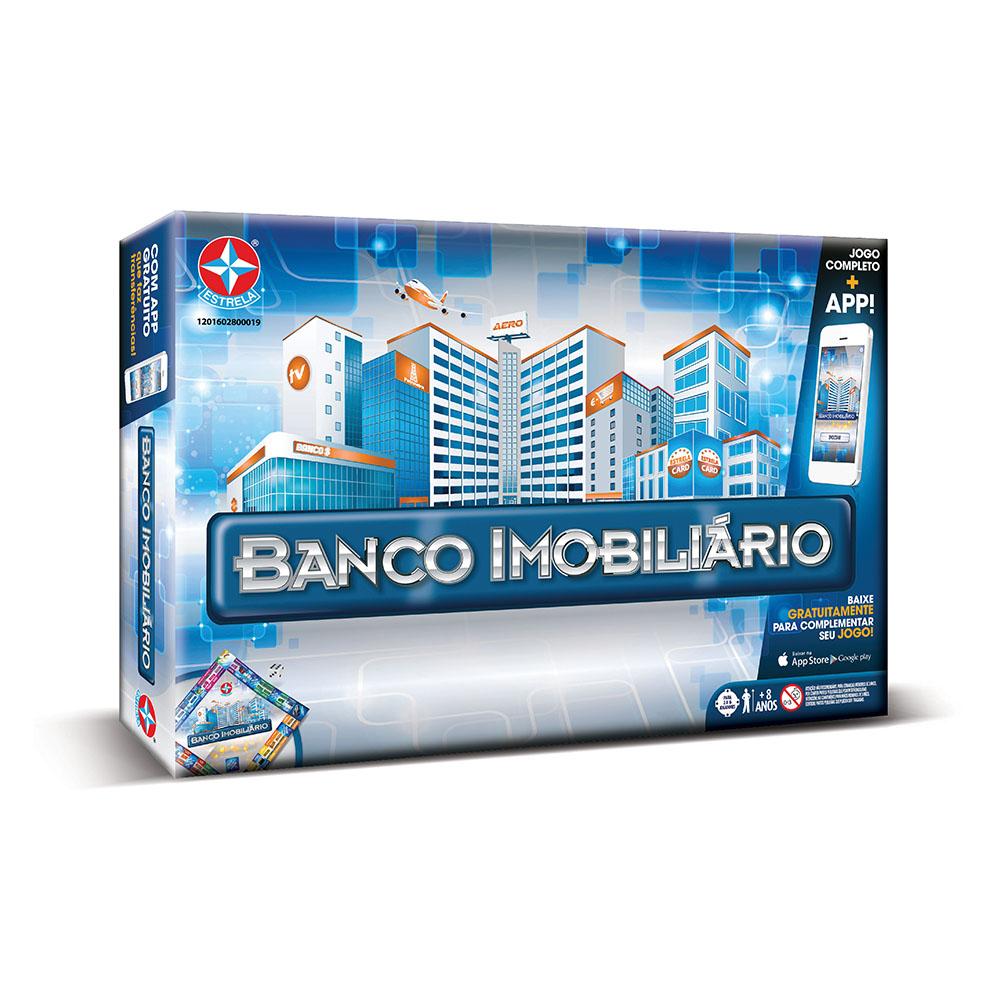 Caixa do Jogo Banco Imobiliário com aplicativo da Estrela