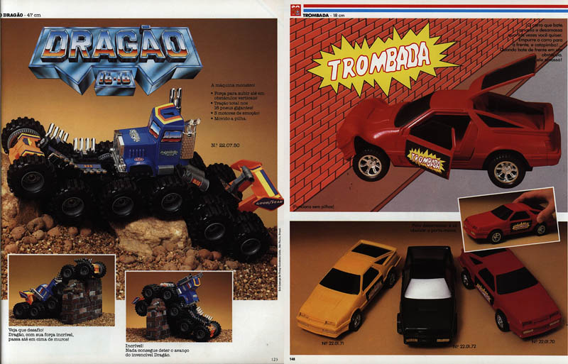 Catálogo de 1980 com os carrinhos de brinquedo Dragão e Trombada da estrela