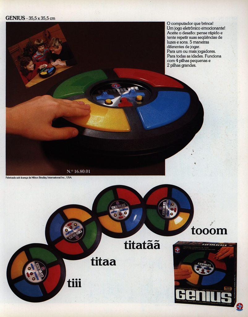Catálogo de 1980 do Jogo Genius da Estrela