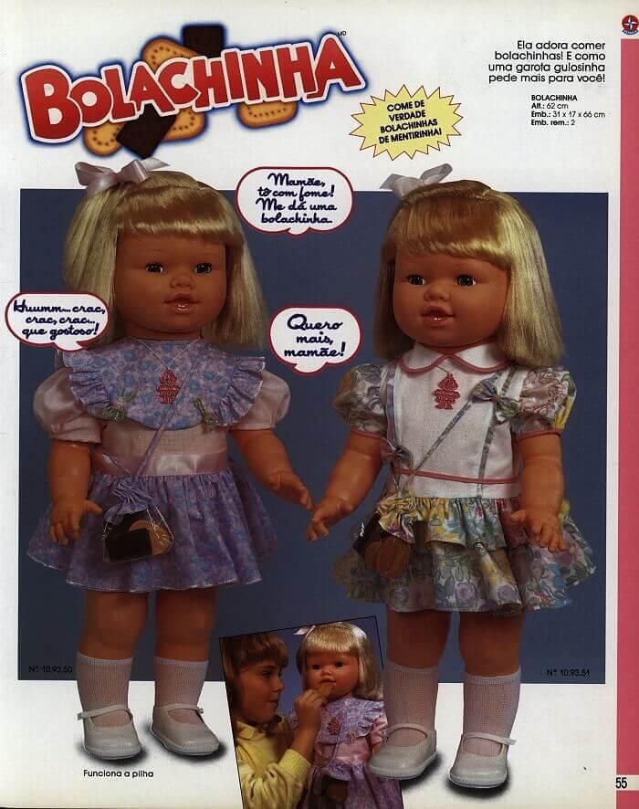 Catálogo dos anos 90 da boneca Bolachinha da Estrela