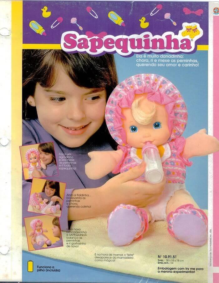 Catálogo dos anos 90 da boneca Sapequinha da Estrela
