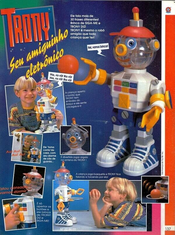 Catálogo dos anos 90 do Robô Trony da Estrela