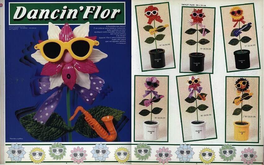 Catálogo dos anos 90 do brinquedo Dancin'Flor