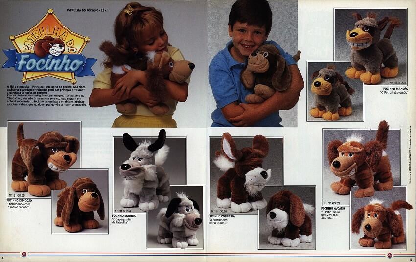 Catálogo dos anos 90 do brinquedo Patrulha do Fucinho da Estrela