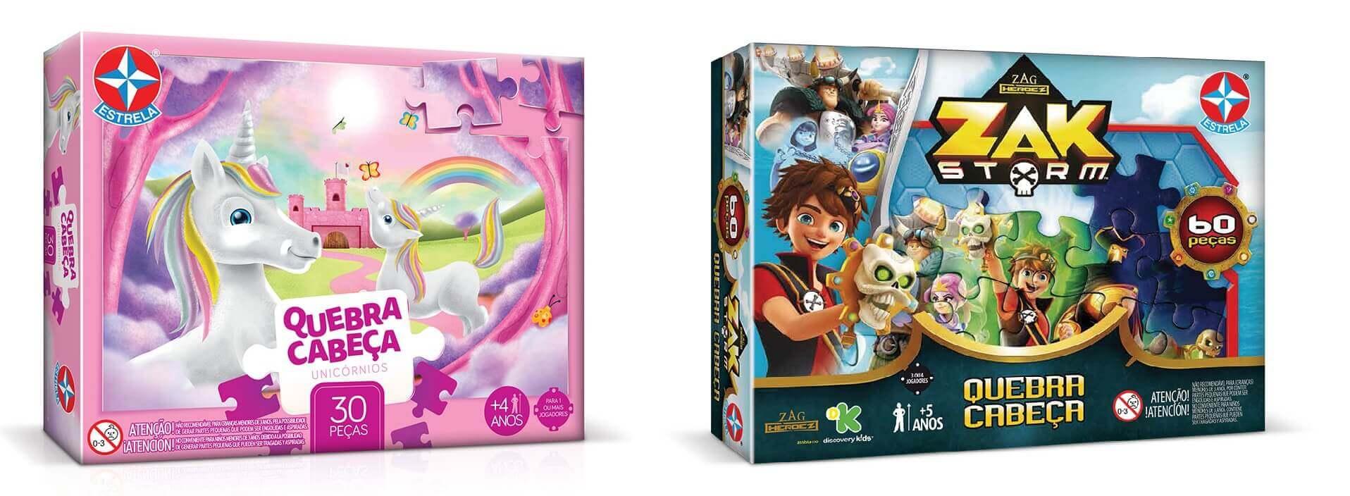 Embalagem Quebra-Cabeça Unicornios e Embalagem Quebra-Cabeça Zak Storm da Estrela