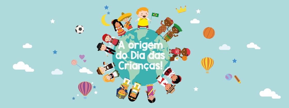 Ilustração com crianças em volta do globo - dia das crianças