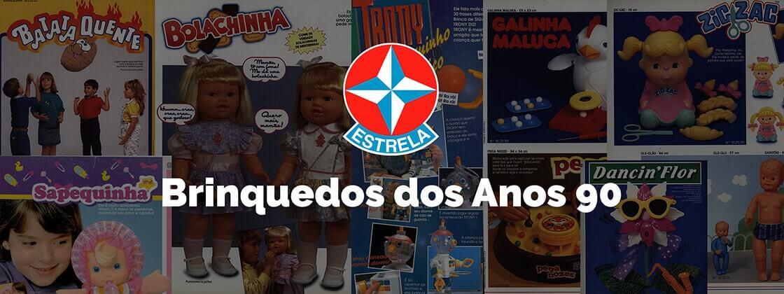 Ilustração dos brinquedos dos anos 90 da Estrela