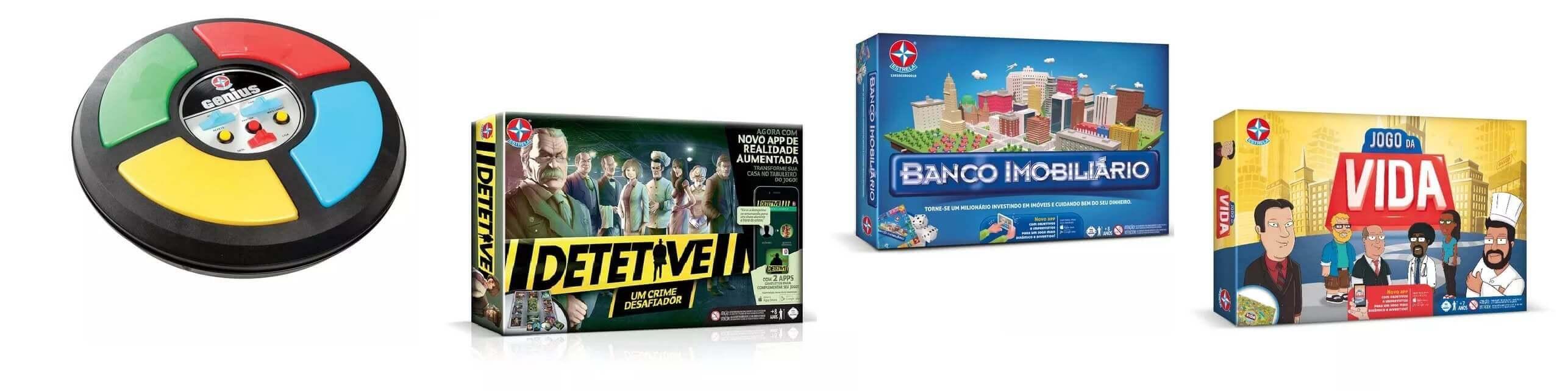 Montagem com o jogo genius, detetive, banco imobiliario e jogo da vida da Estrela