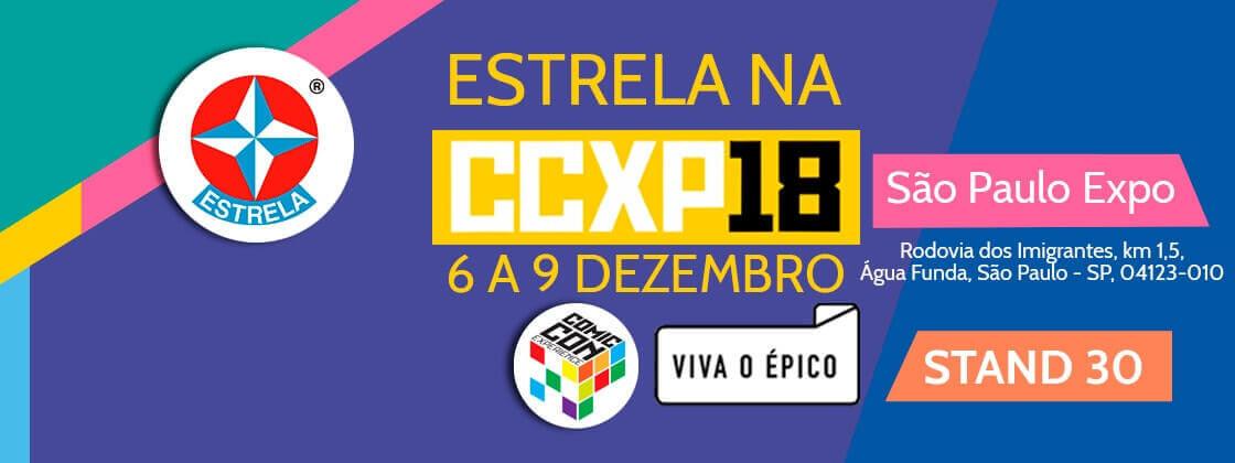 Banner da participação da Brinquedos Estrela na CCXP2018