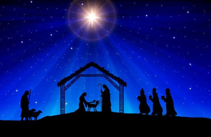 Ilustração do presépio e nascimento de Cristo